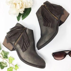 STEVE MADDEN bronze/brown fringed boot size 5